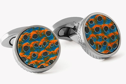 Orange & Blue Scaly Leather Titanium Cufflinks
