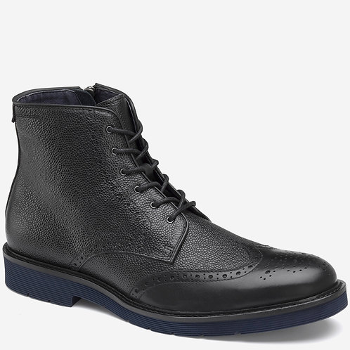 Kinley Wingtip Zip Black Pebble