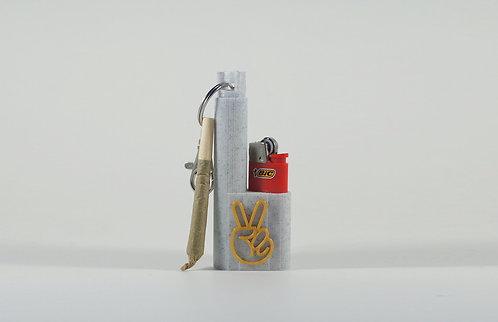 "Terrapin Marble & Gold ""Peace Sign"" Mini Lighter + Joint/Spliff* Case & Keychain"
