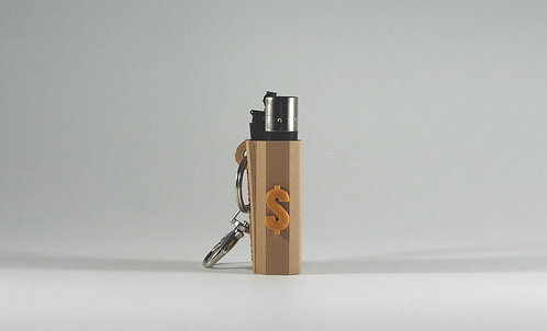 """Terrapin Lighter Case & Keychain, """"Dollar Sign"""" Brown and Gold"""