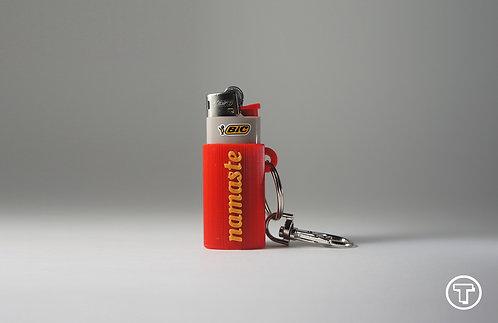 """Terrapin Mini Lighter Holder + Keychain """"Namaste""""Red & Gold"""