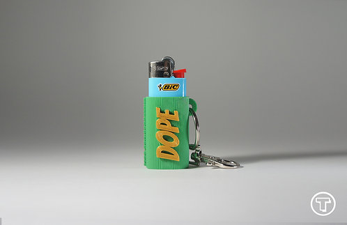 "Terrapin Mini Lighter Holder + Keychain ""DOPE"" Forest Green & Gold"