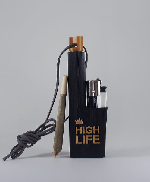 "Terrapin""High Life"" Lighter + Spliff Holder Black & Gold *Customizable"
