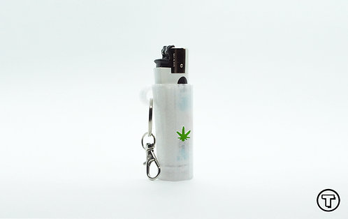 """Terrapin Lighter Case + Keychain """"Weed Leaf"""" Clear *Customizable"""
