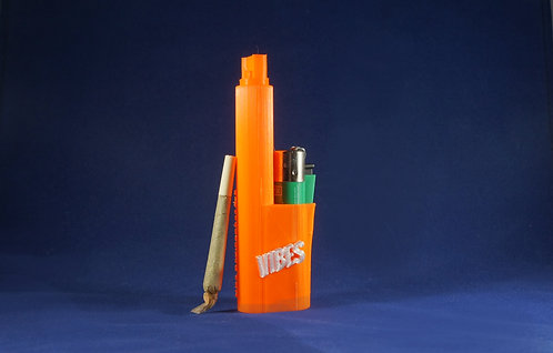 """Terrapin """"VIBES"""" Orange & White Lighter and Blunt/Joint Travel Case"""