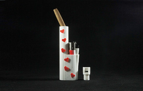 "Terrapin ""Red Hearts"" Lighter & Blunt/Joint* Travel Case"