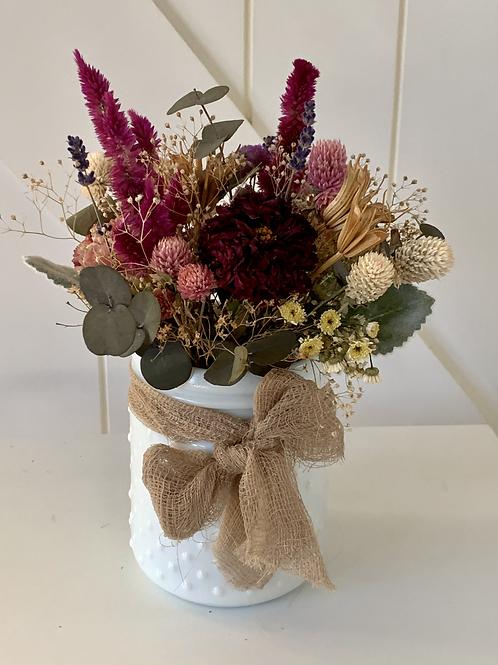 Dried Flowers Arranged in Hobnail Vase