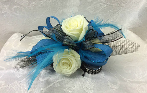 2 white spray corsage with 4 row bling bracelet home