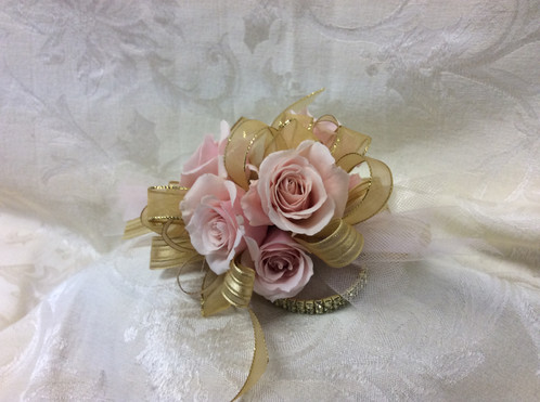 Pictured Above: Light Pink Spray Rose With 4 Row Gold Bling Bracelet With  Metallic Gold And Satin Metallic Stripe Ribbons/and Thin Sheer Irridescent  Ribbons ...