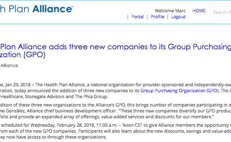 Health Plan Alliance adds three new companies to its Group Purchasing Organization (GPO)