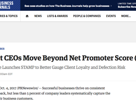 Smart CEOs Move Beyond Net Promoter Score (NPS); Stonegate Launches STAMP to Better Gauge Client Loy