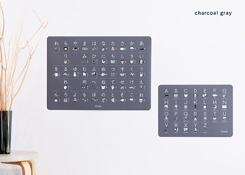 FORNE Hiragana and ABC chart Poster Set Light Charcoal Gray