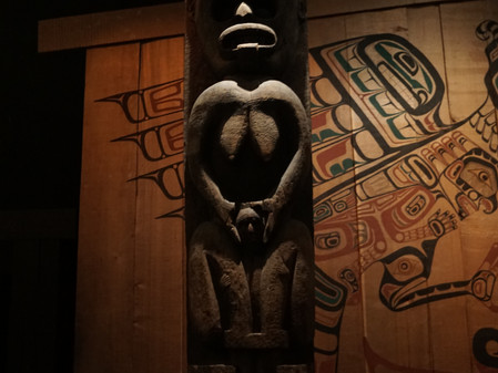 First Nations Exhibition, Royal British Columbia Museum, Canada: Language, Totems and lighting