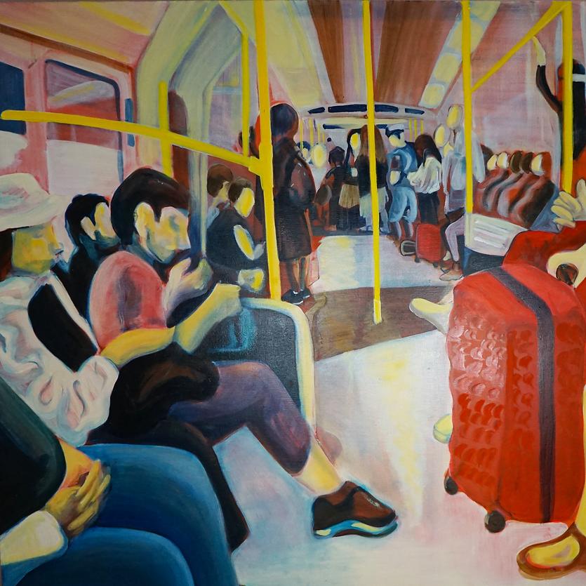 Emma Brassington, Morning Commute, 120x120cm, oil on canva