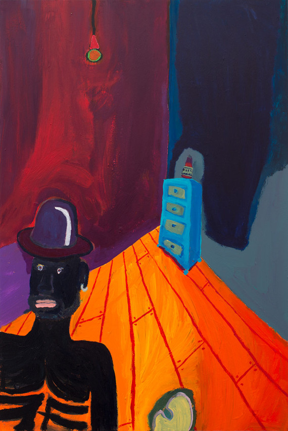 Bowler hat Acrylic on wood panel 20 x 30 inches