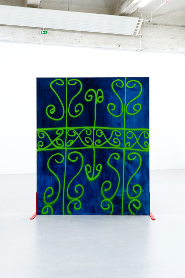 Electric green fence Acrylic and spray paint on wood panel mounted to steel legs
