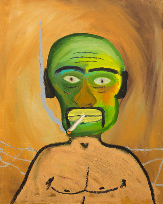 Green smoker Oil and acrylic on canvas 30 x 36 inches