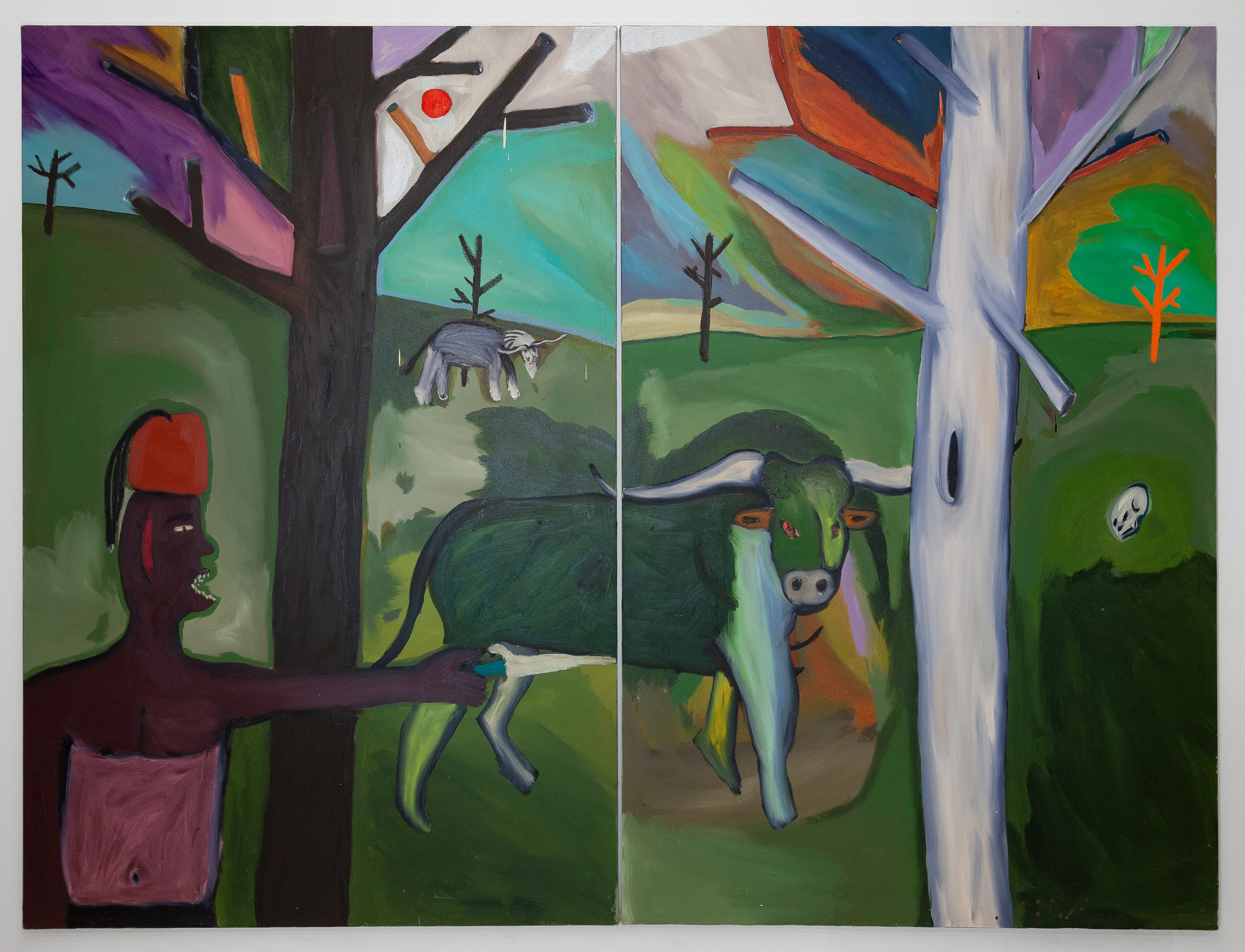 Moorish Forest Oil and acrylic on canvas (2 panels)