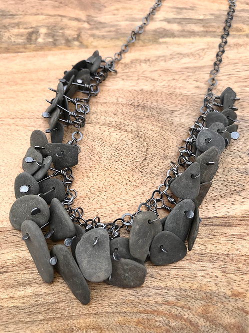 Black Basalt Beachstone Necklace
