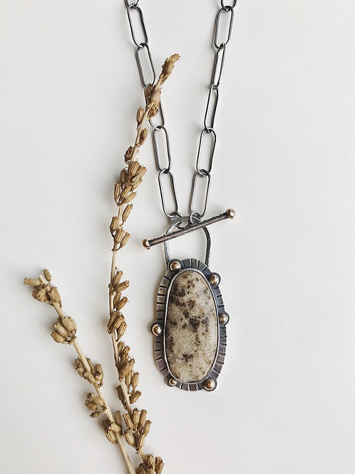 Ghost Petoskey Line and Dot Necklace