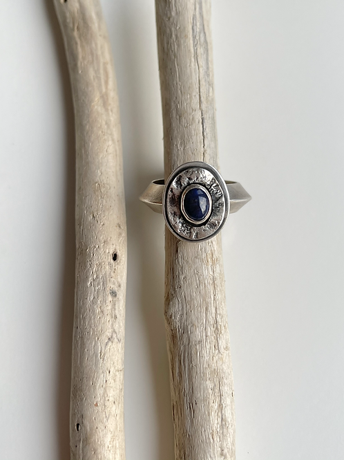 Chunky Knife Edge Reticulation Rings - Small Sapphire Blue