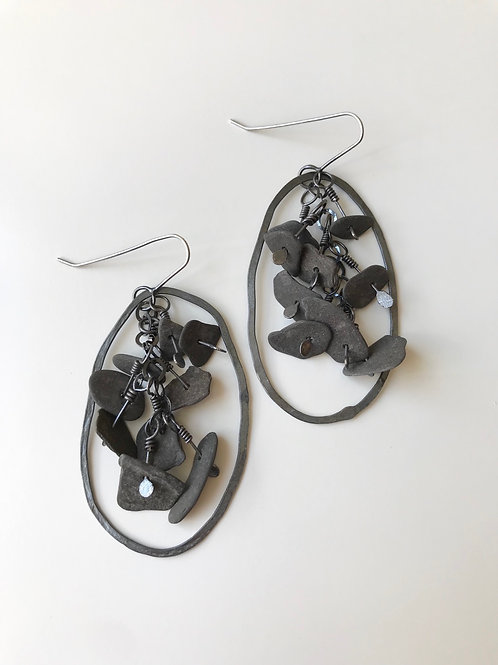Black Basalt Beaded Earrings