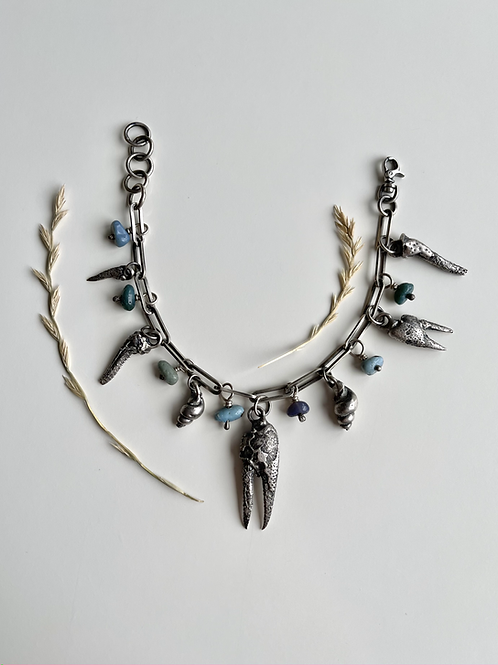 Leland Blue Crayfish and Shell Charm Bracelet