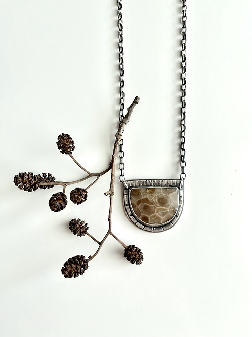 Petoskey Stone Necklace With Stamped Detail