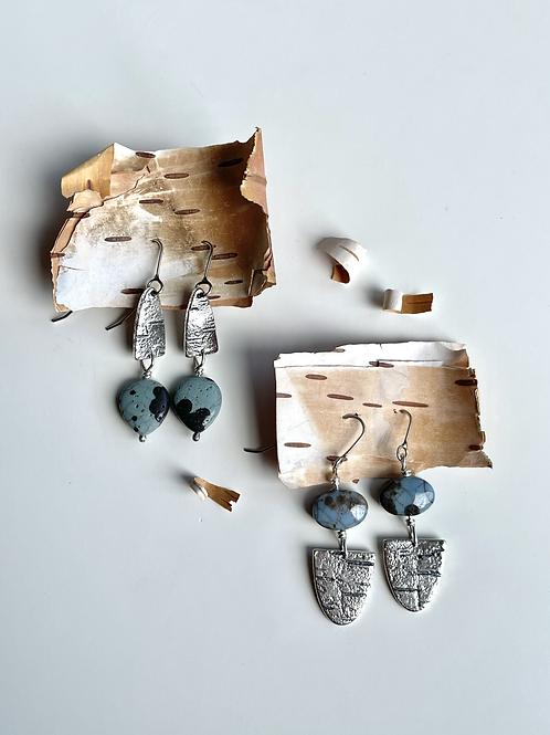 Beaded Leland Blue and Birch Earrings