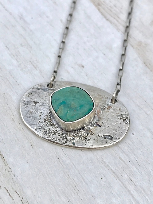 Chrysocolla and Birch Bark Necklace