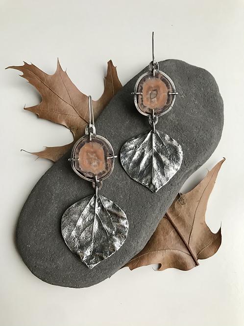 Keweenaw Agate and Quaking Aspen Leaf Earrings