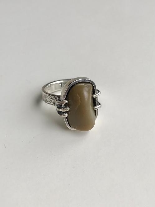 Olive Green Jasper Prong Ring