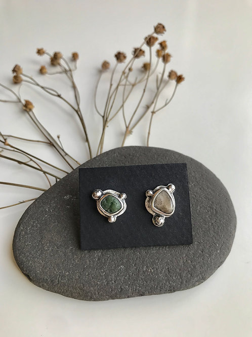 CLEARANCE Petoskey Stone and Frankfort Green Studs