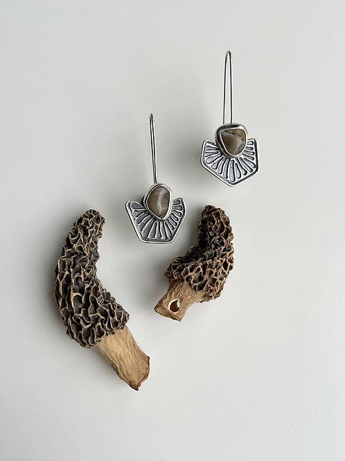 Petoskey Stone Half Pattern Earrings