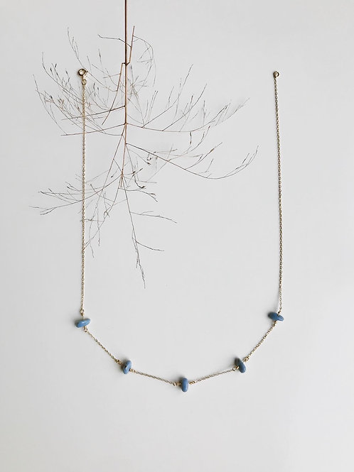 Dainty 14K Gold Leland Blue Stone Necklace