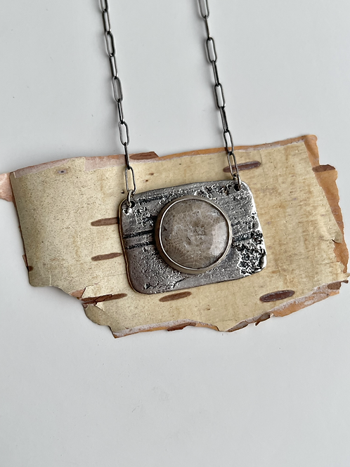 Birch Bark Petoskey Stone Necklace