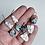 Thumbnail: Beaded Leland Blue and Birch Earrings
