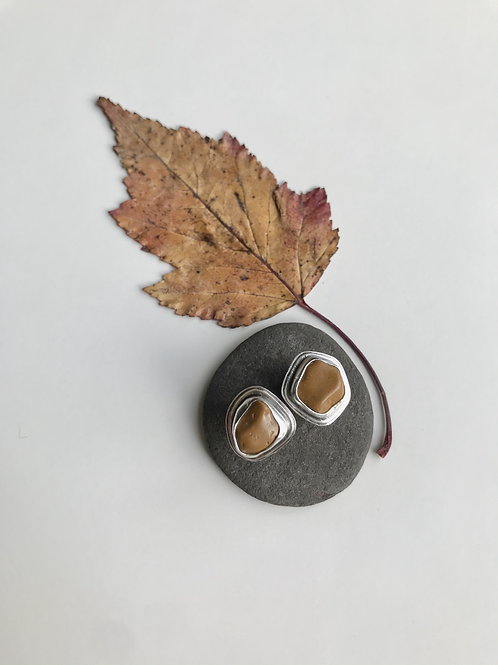 Double Stacked Jasper Studs