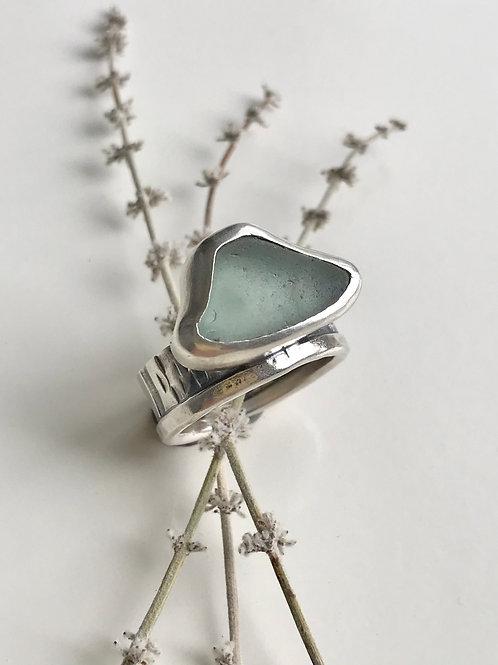 Aqua Lake Michigan Beach Glass Ring