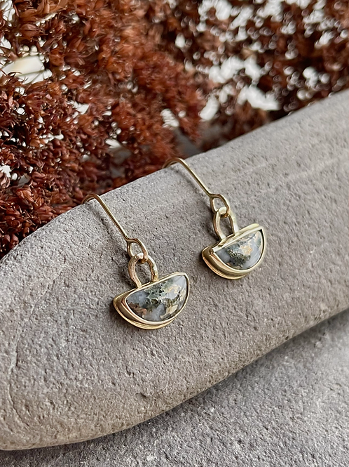 Modern Gold Mohawkite Earrings