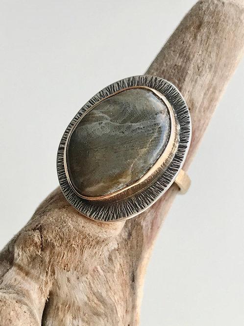 Mixed Metal Petoskey Stone Ring