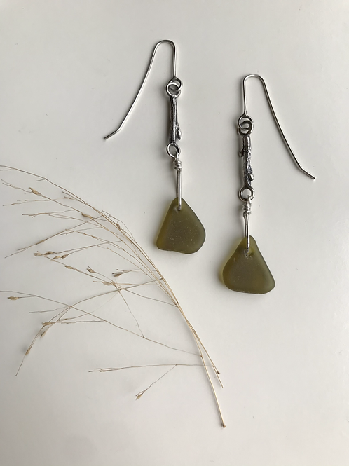 Olive Green Twig and Beach Glass Earrings