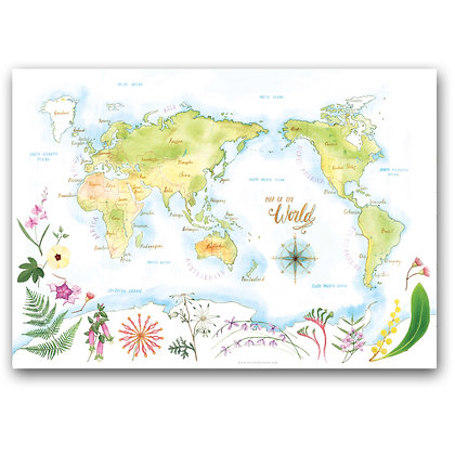 WORLD MAP BOTANICAL | Art Print