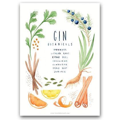 GIN BOTANICALS | A4 Art Print