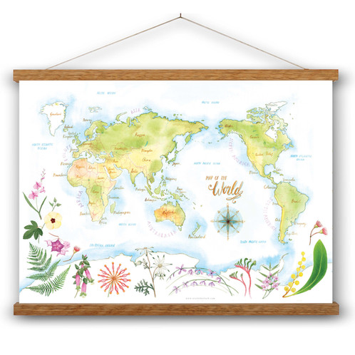 World map botanical a3 art print nicole berlach portfolio delicately watercolour painted map of the world featuring australia front and centre and a collection of australias most loved wildflowers gumiabroncs Gallery