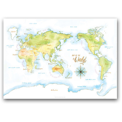 WH WORLD MAP | A3 Art Print