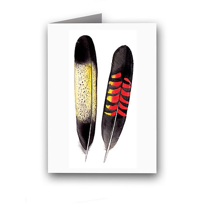 WH GREETING CARD | Black Cockatoo Feathers