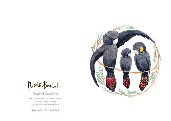 WH GREETING CARD | BLACK COCKATOO FAMILY