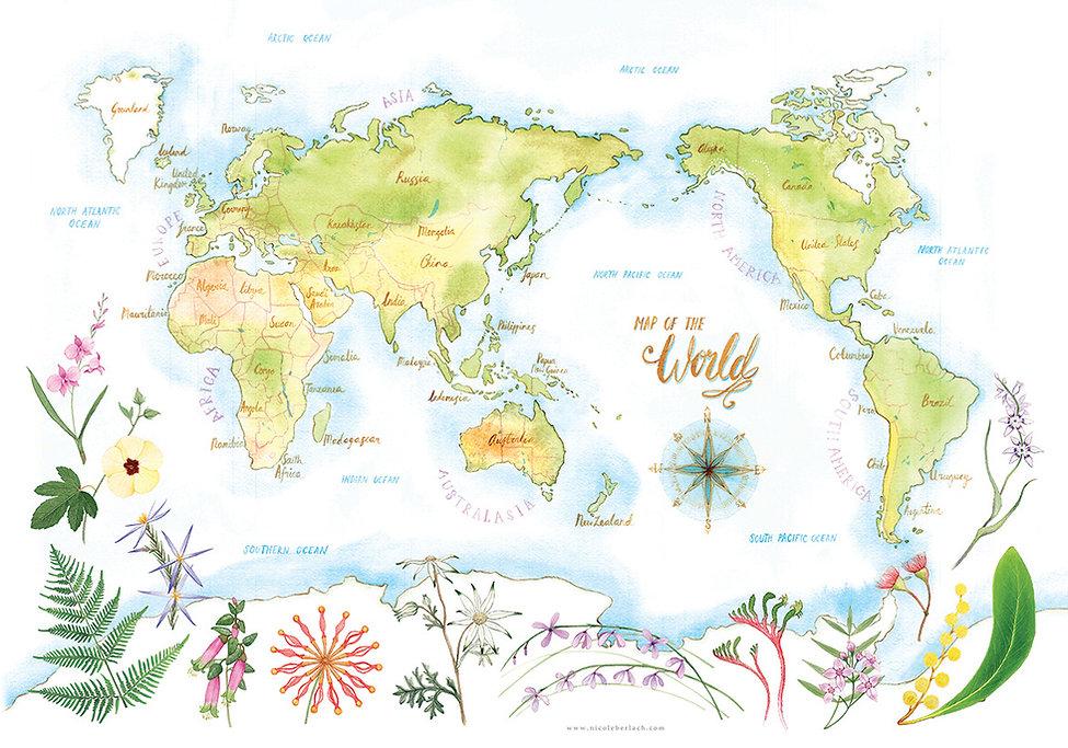 World Map, Australia, Watercolour, Botanical, painting, Nicole Berlach