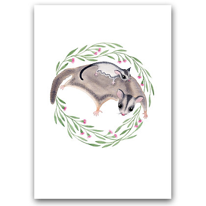 SUGAR GLIDER FAMILY | A4 Art Print
